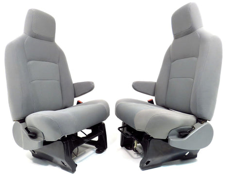 Ford Van Seats E150 E250 E350 Front Bucket Van Seats Gray W/ Armrests Econoline