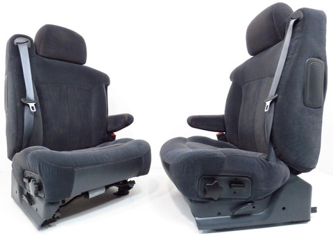 Gm Silverado Tahoe Suburban Oem Charcoal Cloth Front Seats 2000 2001 2002 2003 '