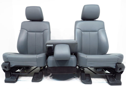 Ford Super Duty Vinyl Front Seats & Center Jump Seat 2011 2012 2013 2014 2015 2016