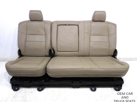 Ford Super Duty Tan Leather Crew Cab Rear Seat 2003 2004 2005 2006 2007
