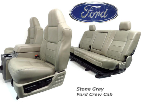Ford Super Duty Seats Front & Rear Stone Leather Seats & Console 2008 2009 2010