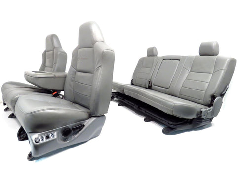 Ford Super Duty Grey Leather Seats Front Rear Seats & Console 1999 2000 2001 2002 2003 2004 2005 2006 2007