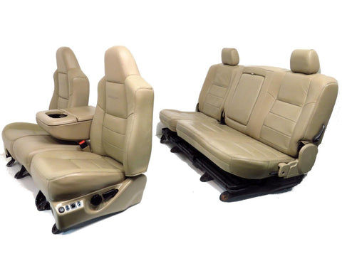 Ford Super Duty Tan Leather Seats Front Rear Seats & Console 1999 2000 2001 2002 2003 2004 2005 2006 2007