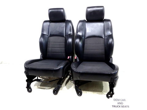 Dodge Ram Sport R/t Oem Powered Front Cloth / Vinyl Seats 2009 2010 2011 2012 2013 2014 2015 2016 2017 2018