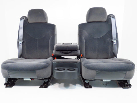 Chevy Silverado GMC Sierra Charcoal Cloth Front Seats & Center Jump Seat 1999 2000 2001 2002 '