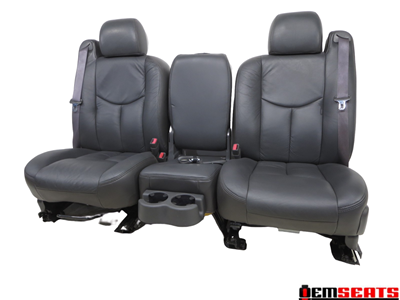 Gm Silverado Sierra Charcoal Leather Front W/ Jump Seat 2003 2004 2005 2006 '
