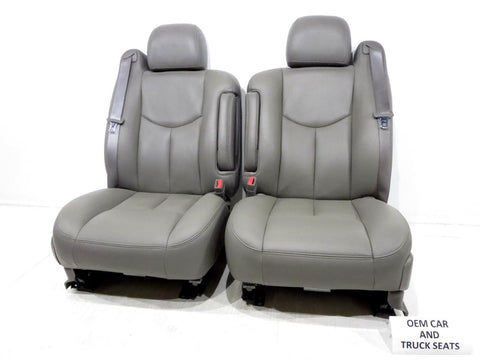 Gm Silverado Tahoe Suburban Oem Gray Leather Front Seats 2003 2004 2005 2006 '