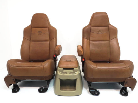 Ford F250 Seats Super Duty King Ranch Seat With Console F350 F450 F650 Leather 1999 2000 2001 2002 2003 2004 2005 2006 2007