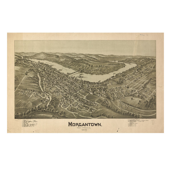 Our Birds Eye view map of Morgantown, West Virginia