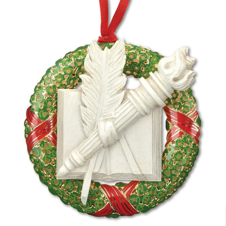 Library Wreath Ornament