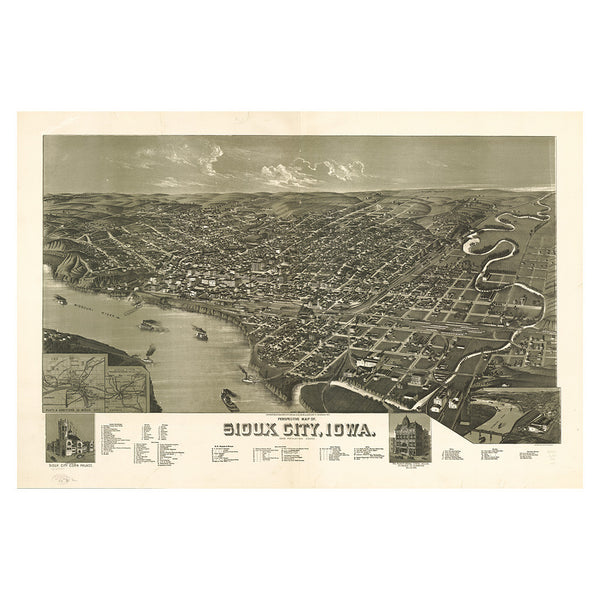 Our Birds Eye view map of Sioux City, Iowa