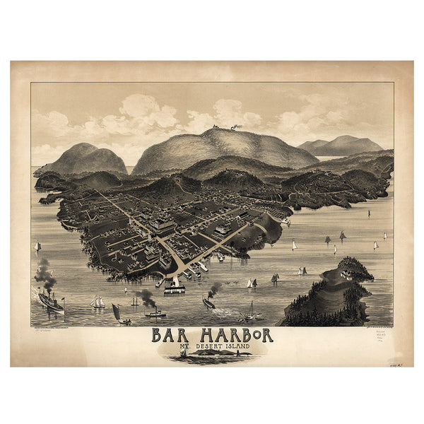 Our Birds Eye view map of Bar Harbor, Maine
