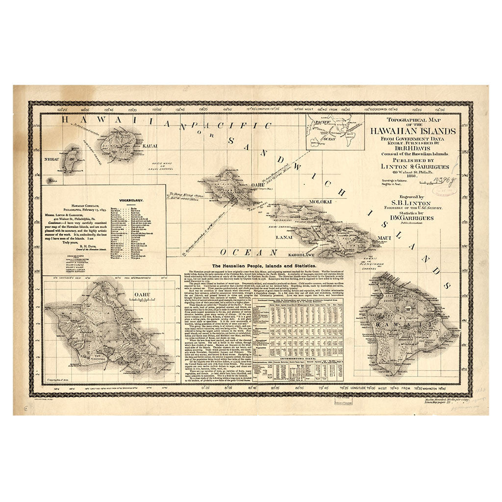 Our State Map of Hawaii