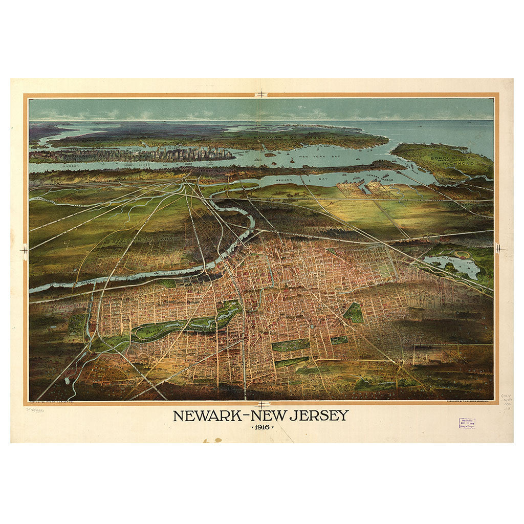 Our Birds Eye view map of Newark, New Jersey