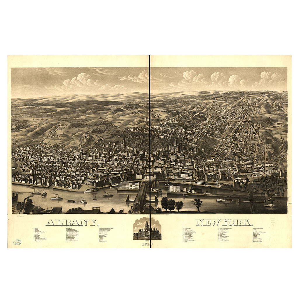 Our Birds Eye view map of Albany, New York