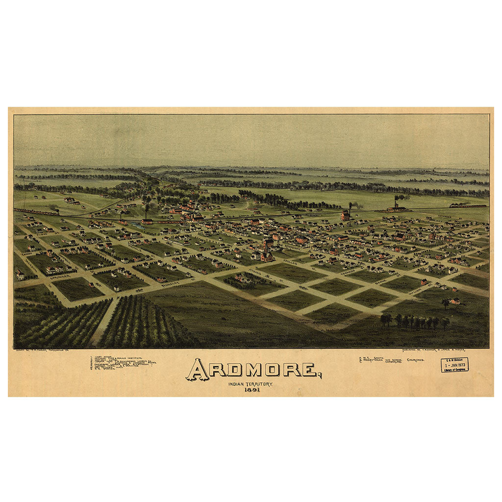 Our Birds Eye view map of Ardmore, Indian Territory (Oklahoma)