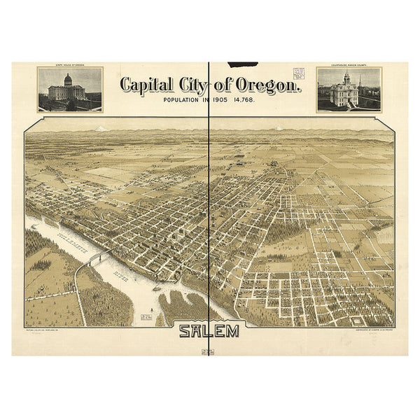 Our Birds Eye view map of Salem, Oregon