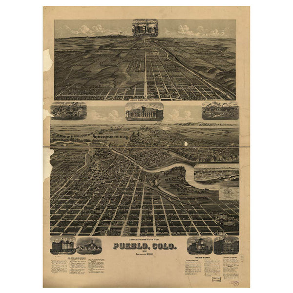 Our Bird's Eye view map of Pueblo, Colorado