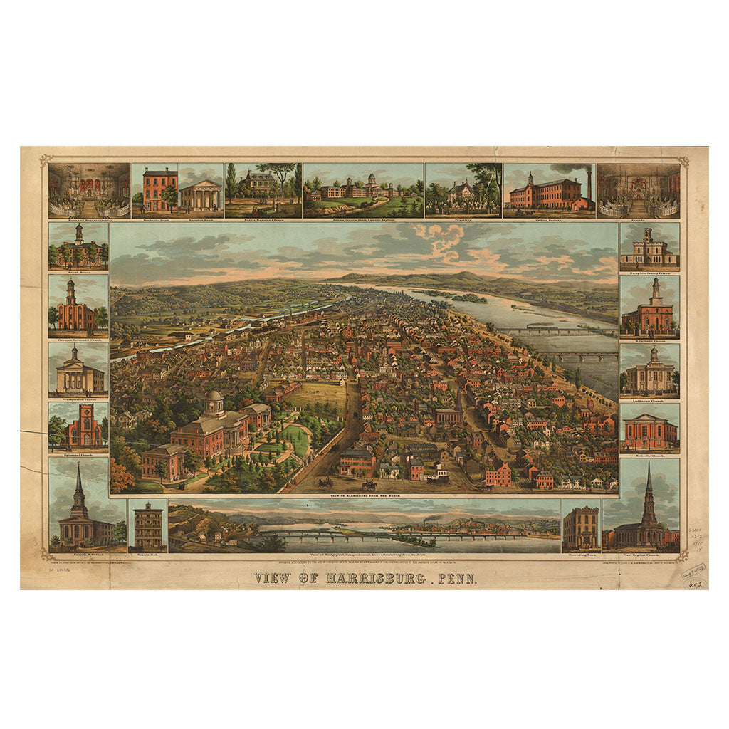 Our Birds Eye view map of Harrisburg, Pennsylvania