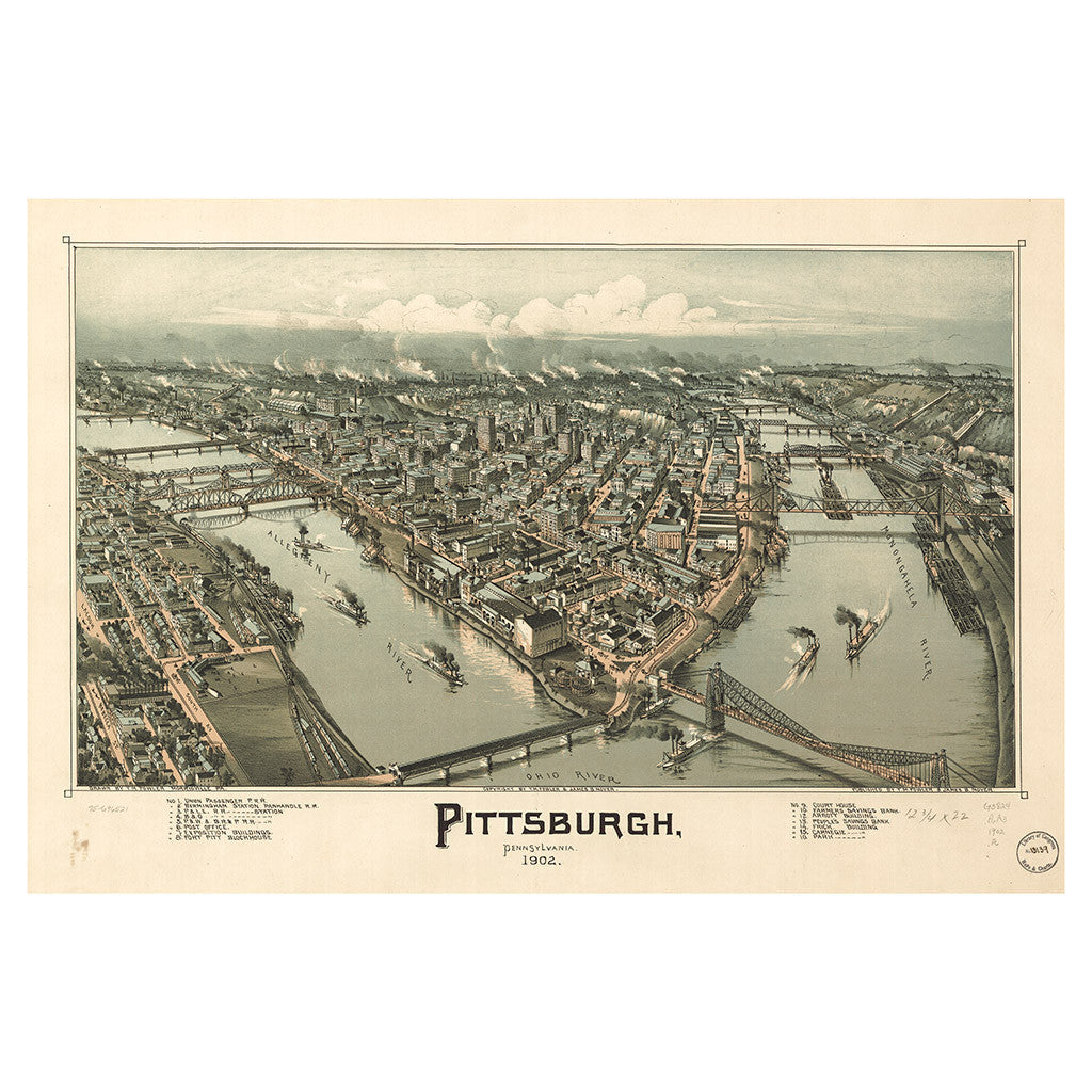 Our Bird's Eye view map of Pittsburgh, Pennsylvania