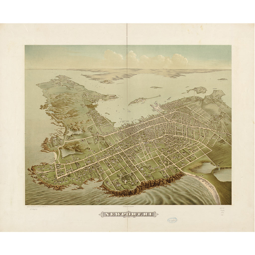 Our Bird's Eye view map of Newport, Rhode Island