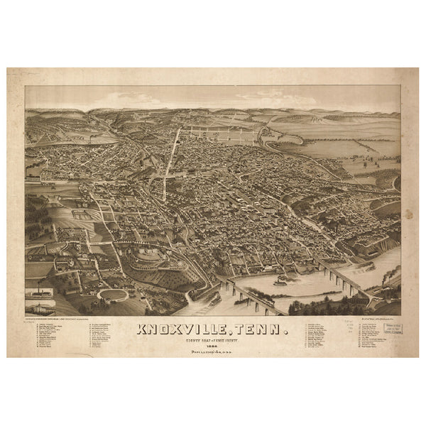 Our Bird's Eye view map of Knoxville, Tennessee