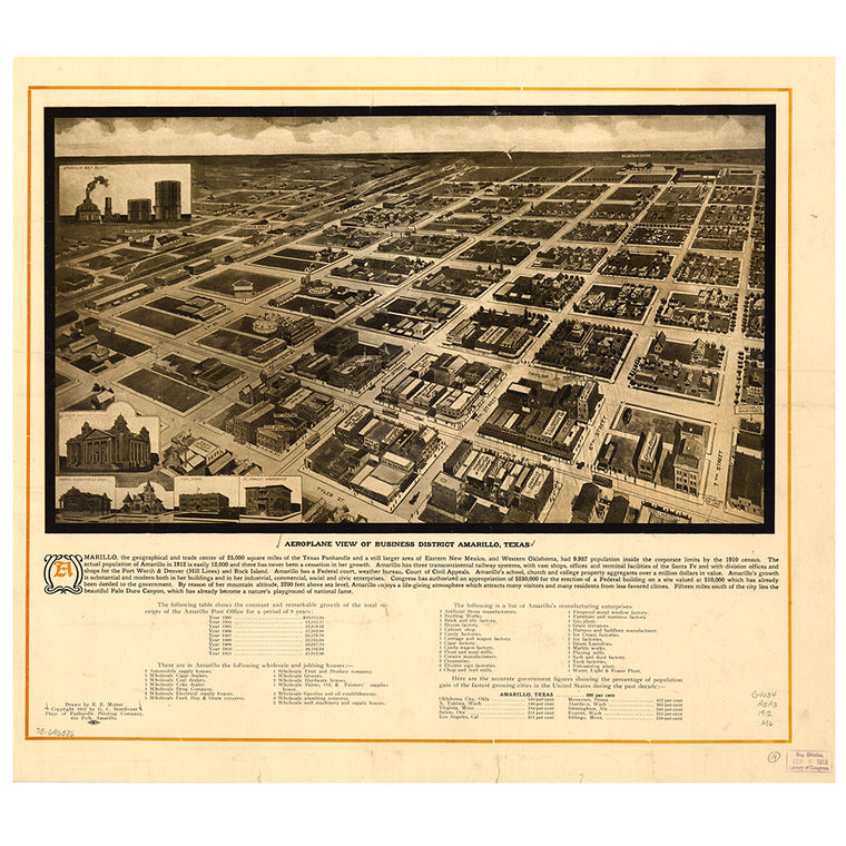 Our Bird's Eye view map of Amarillo, Texas