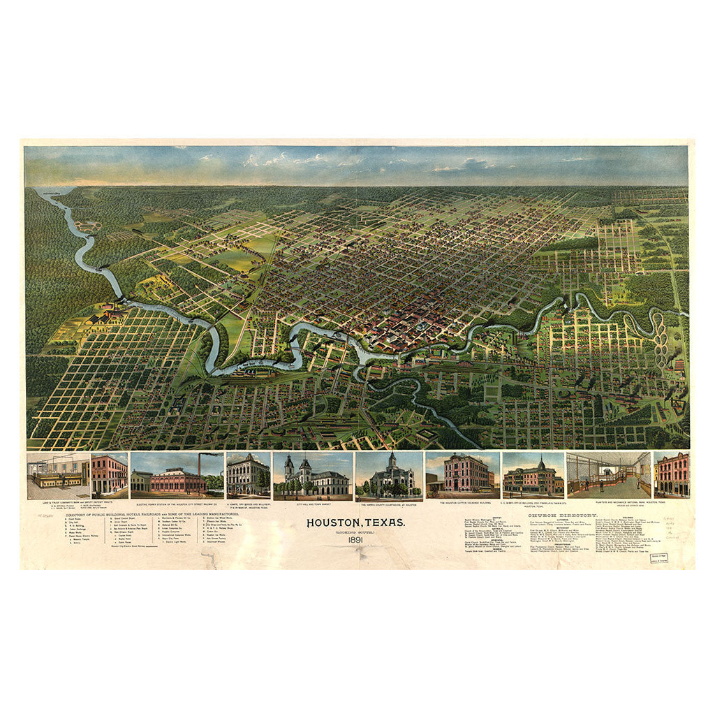 our birds eye view map of houston texas library of congress shop