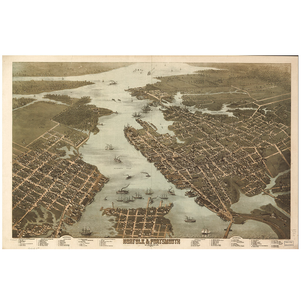 Our Bird's Eye view map of Norfolk & Portsmouth, Virginia