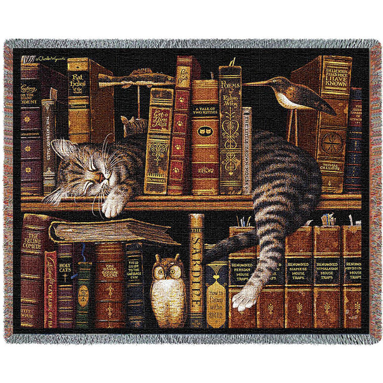 Library Cat Throw and Pillow