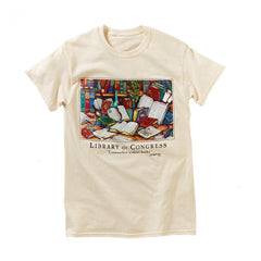 Books on Desk T-Shirt - Library of Congress Shop