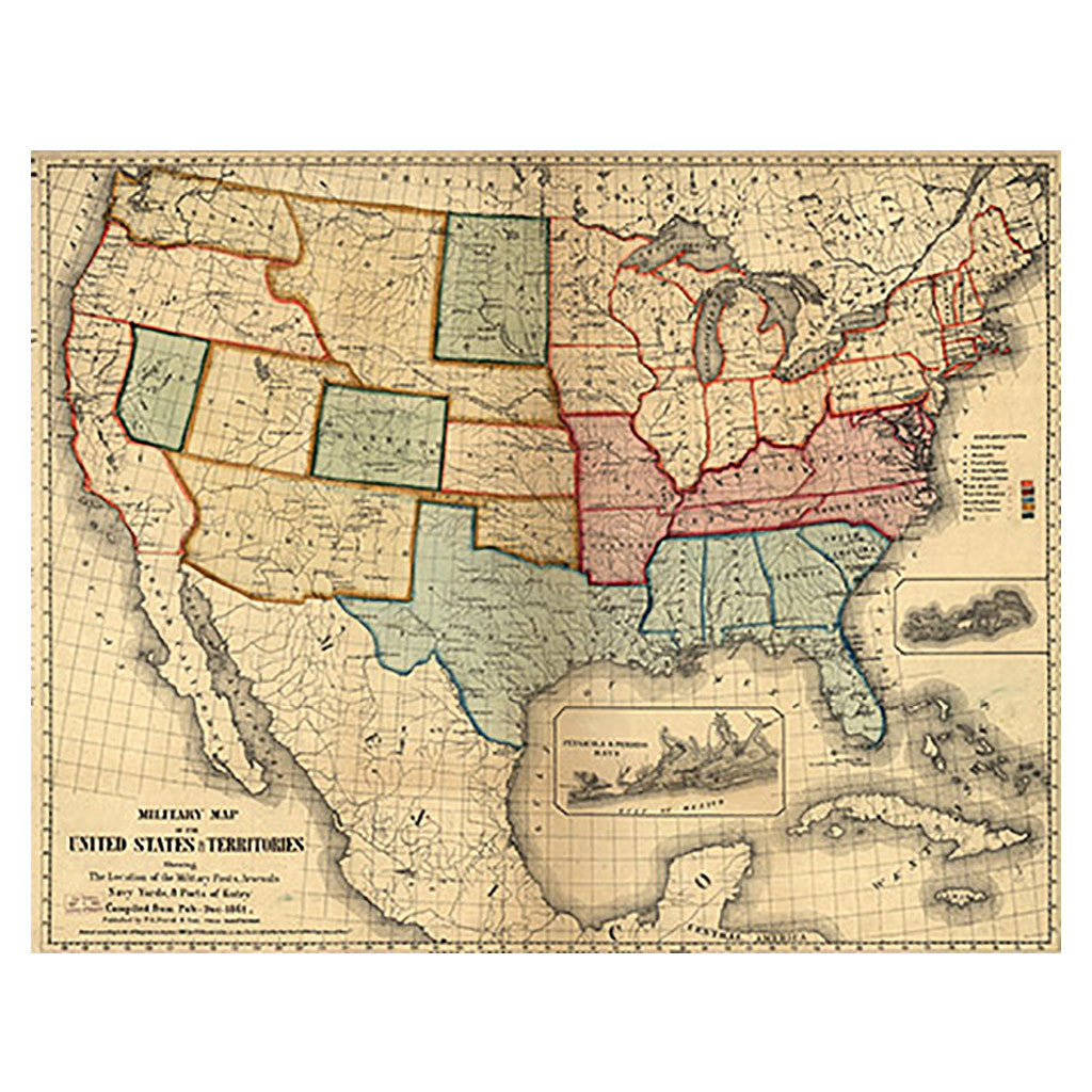 Military Map Of The United States Territories Library Of - Map of united states and us territories