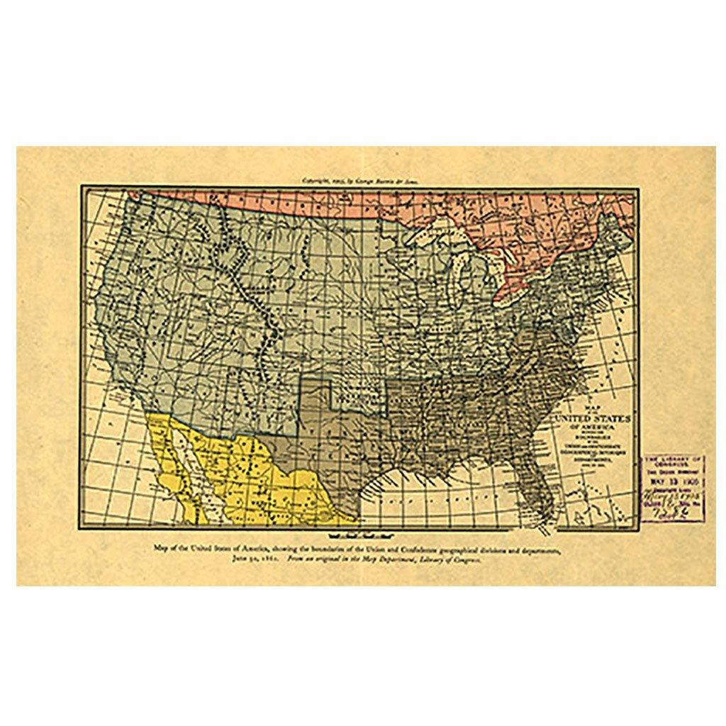 Civil War Map of the United States of America - Library of Congress Shop
