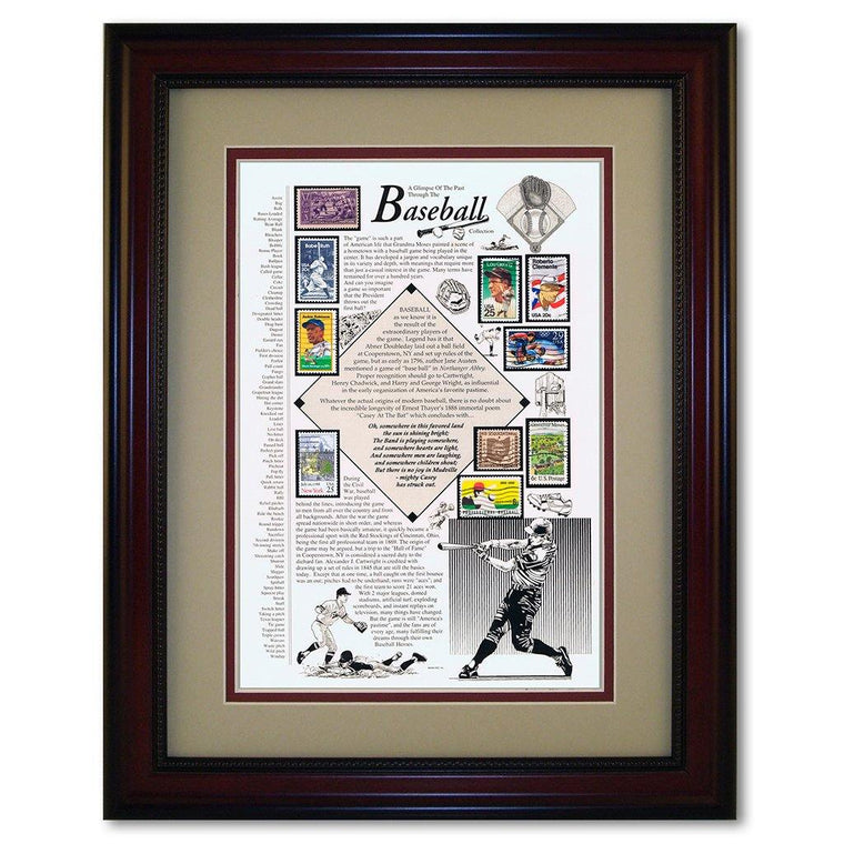 Framed Baseball Stamp Collection