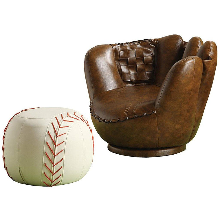 Child's Baseball Chair and Ottoman