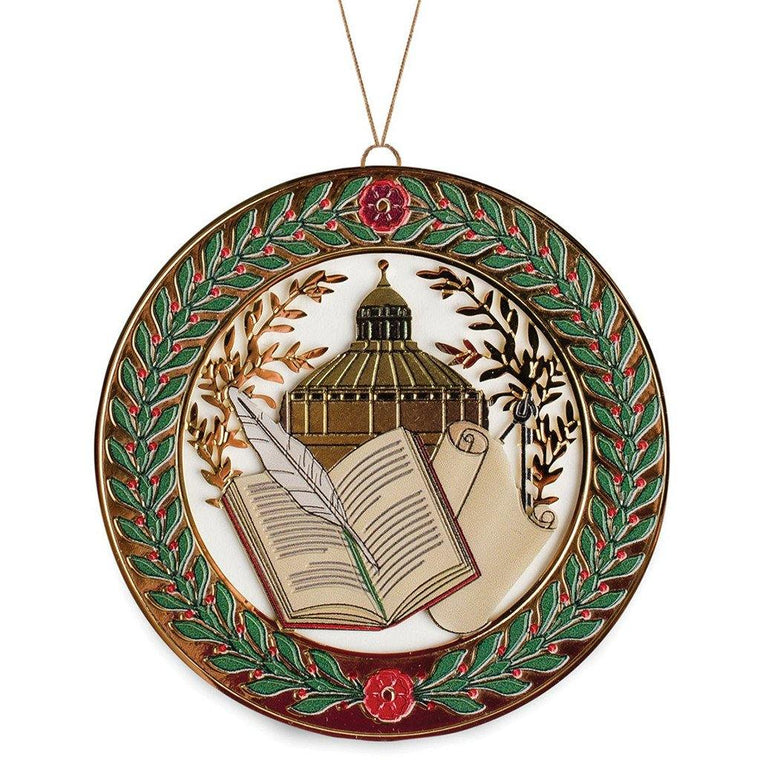 Library of Congress Book and Scroll Ornament (W)