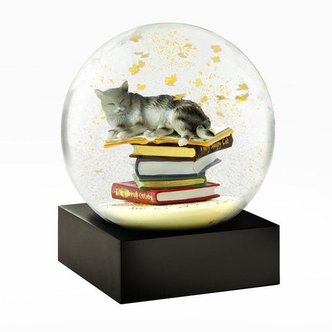 Cat on Books Water Globe