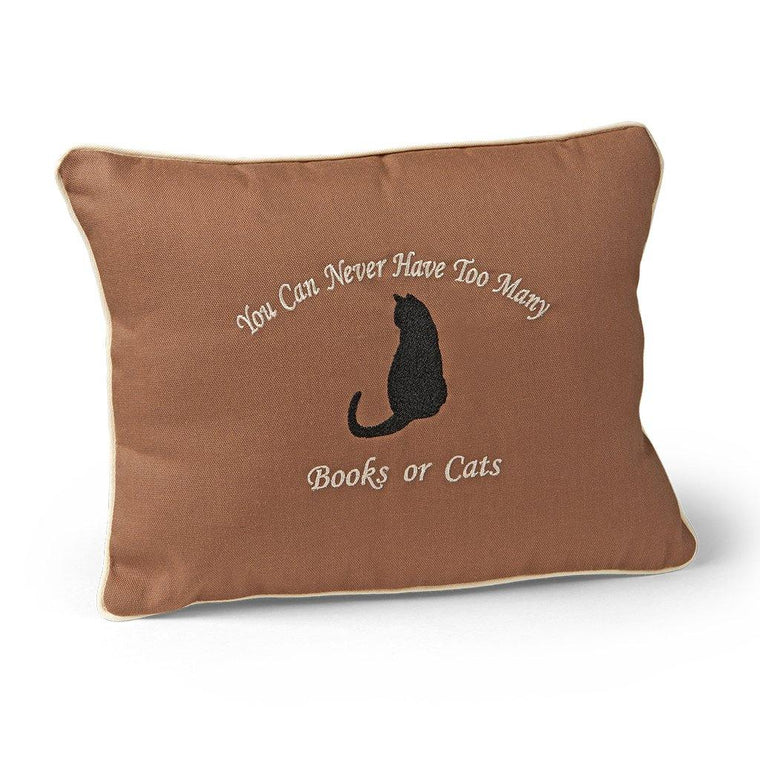 Cat and Books Pillow