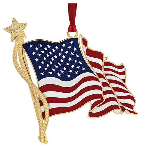 American Flag Brass Ornament