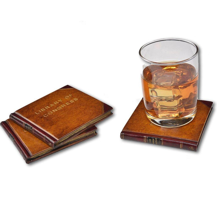 Antique Book Faux Leather Coaster