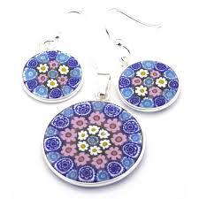 Millefiori Pendant and Earring Set