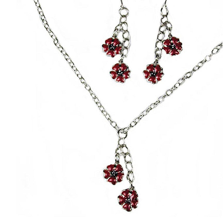 Red Poppy Necklace Set