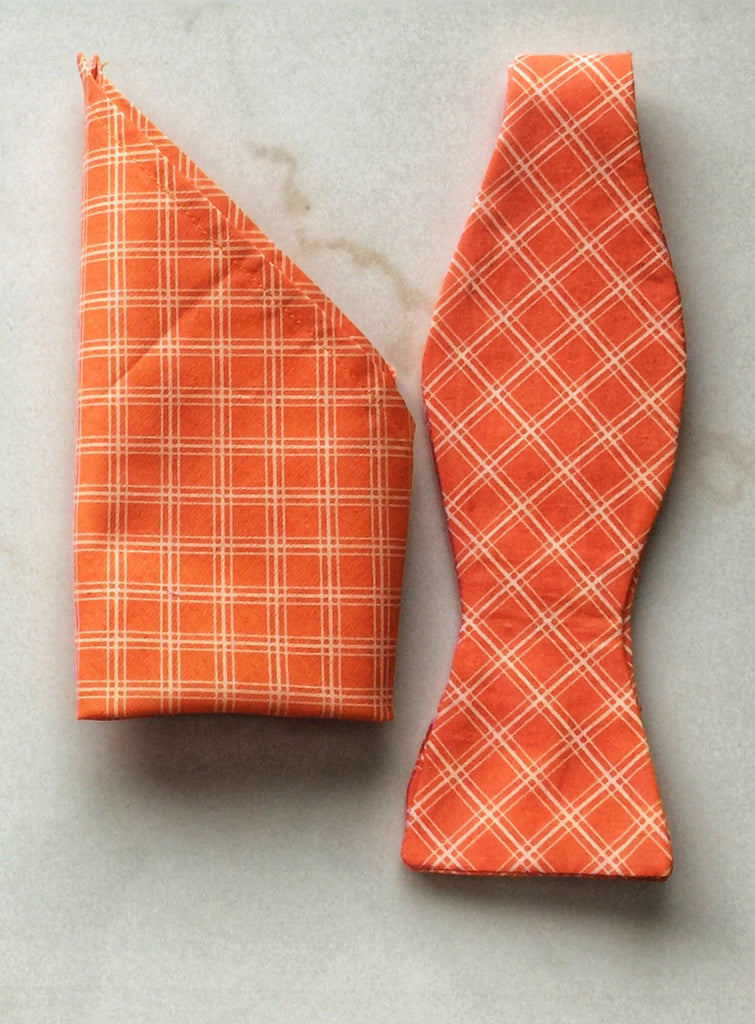 Sherbet Orange and White Check Print Handmade Self Tie Bow Tie and Pocket Square Set