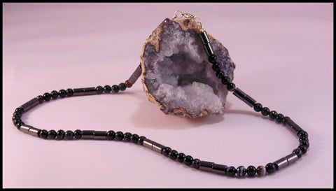 Astraeus - Onyx & Magnetic Hematite Necklace