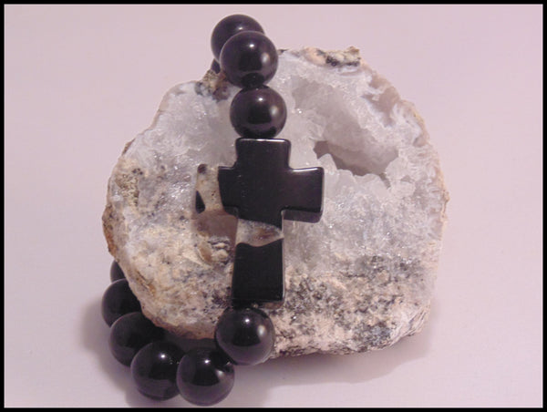 Atlas - Obsidian & Black Onyx Cross Bracelet