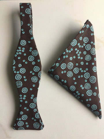 Chocolate Brown & Teal Swirl Print Handmade Self Tie Bow Tie and Pocket Square Set