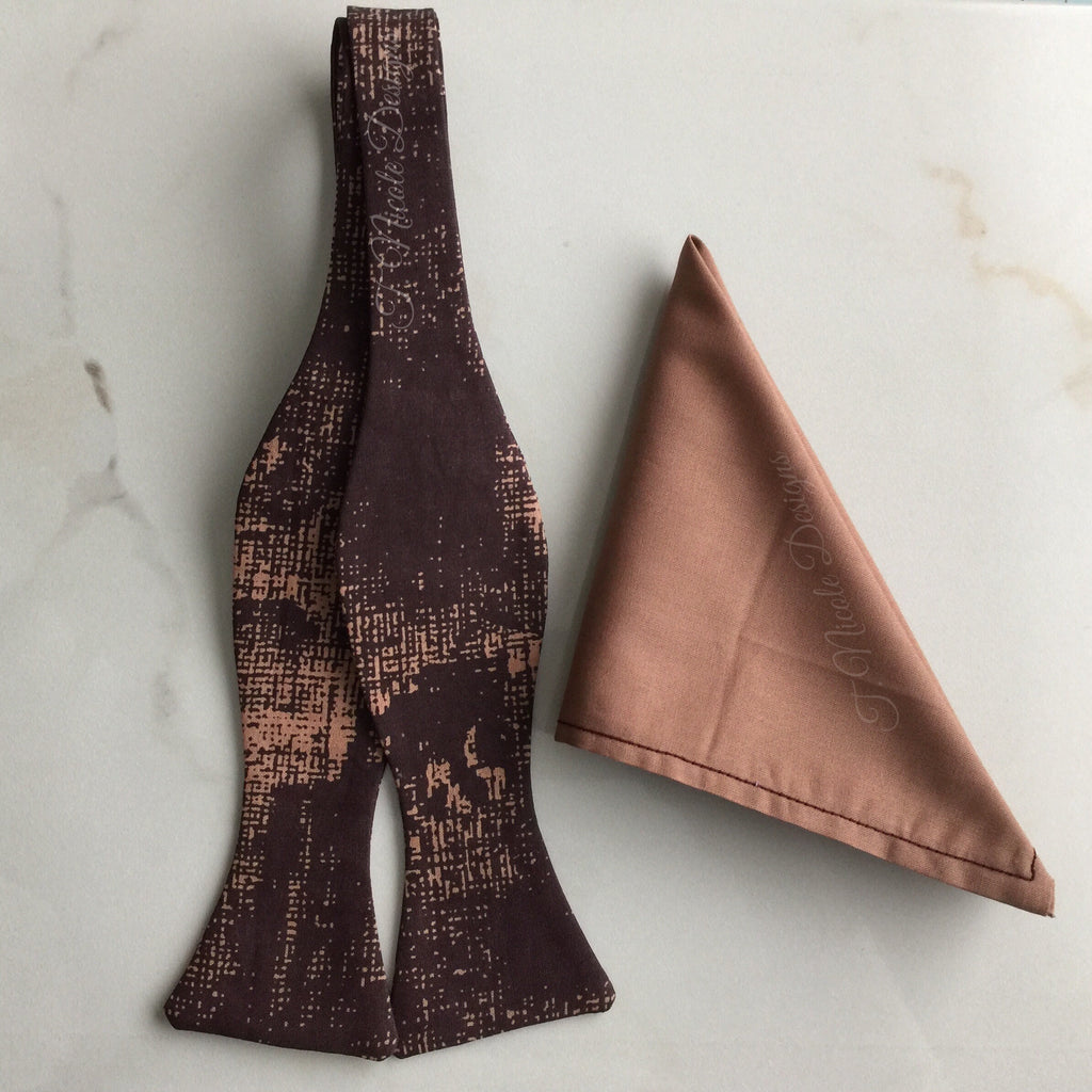 Maroon and Toffee Abstract Print Handmade Self Tie Bow Tie