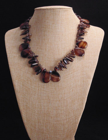 Calina - Onyx and Smoky Quartz Gemstone Necklace
