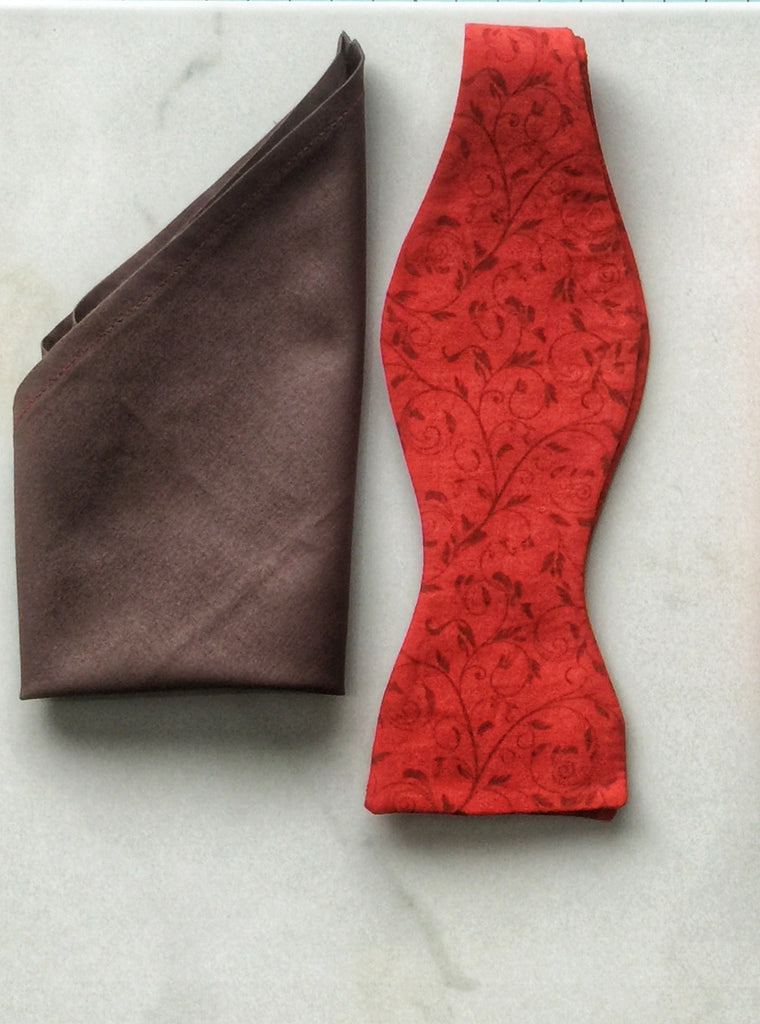 Red and Chocolate Brown Vine Print Handmade Self Tie Bow Tie