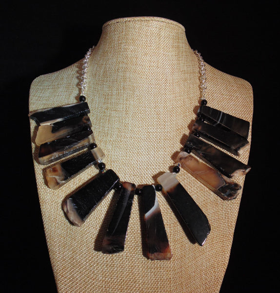 Escuridão - Black Onyx Slab & Swarovski Crystal Necklace